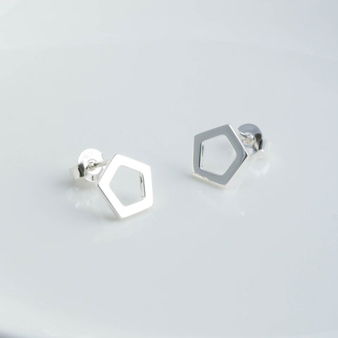 Geometric Silver Pentagon Stud Earrings