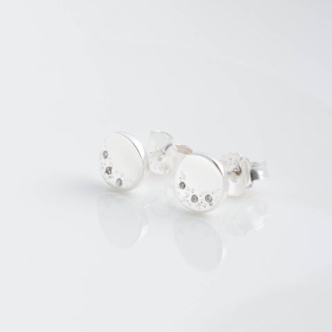 Stella Sterling Silver Disc Stud Earrings