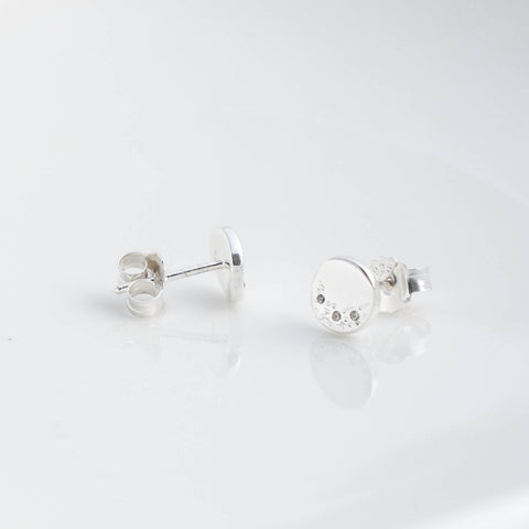 Stella Silver and Cubic Zirconia Disc Stud Earrings