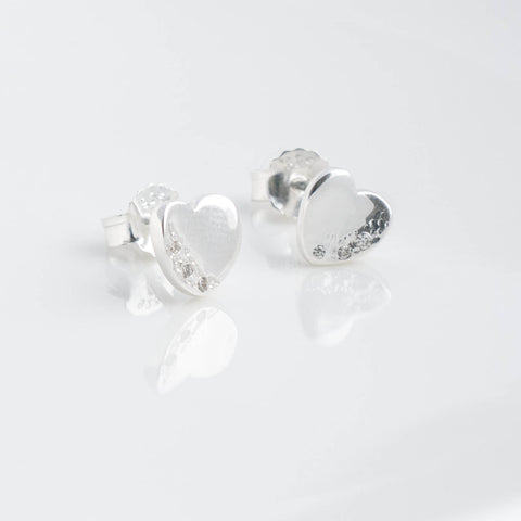 Stella Sterling Silver Heart Stud Earrings