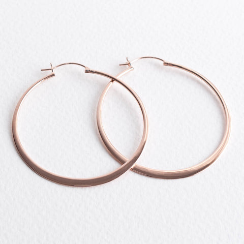 Henley Large Flat 5cm Rose Gold Hoop Earrings