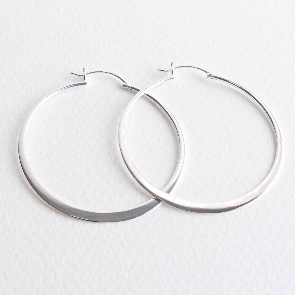 Henley Large Flat 5cm Silver Hoop Earrings