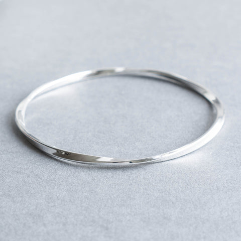 Slim Twisted Silver Bangle