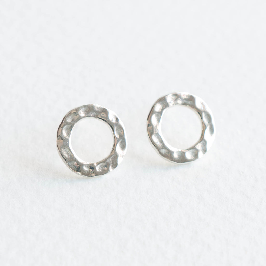 stud swarovski earrings circle women rose white crystal gold plated image