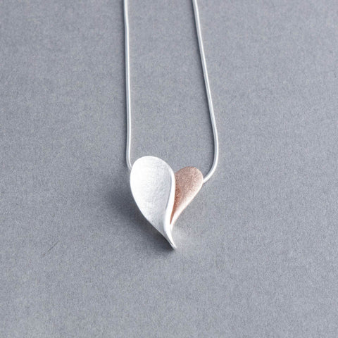 Rosa Silver and Rose Gold Heart Pendant Necklace