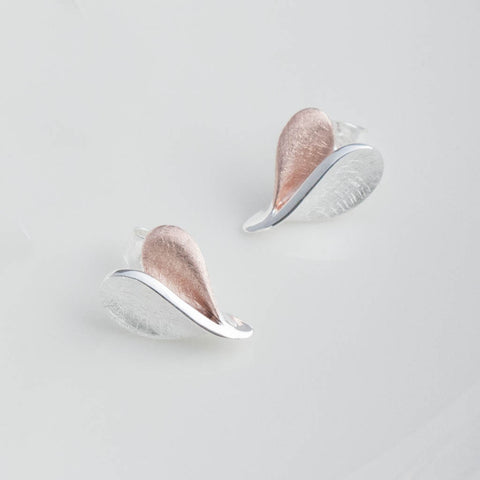 Rosa Silver and Rose Gold Stud Earrings