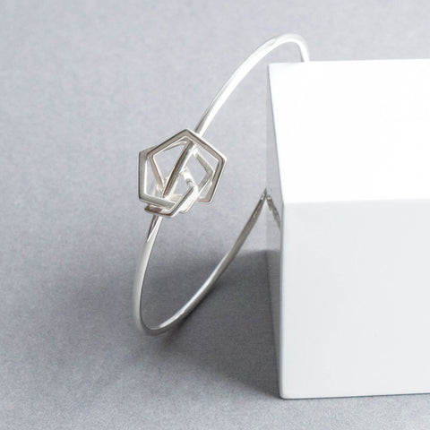 Geometric Sterling Silver Pentagon Bangle