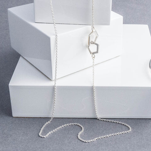 Geometric Pentagon Long Silver Necklace