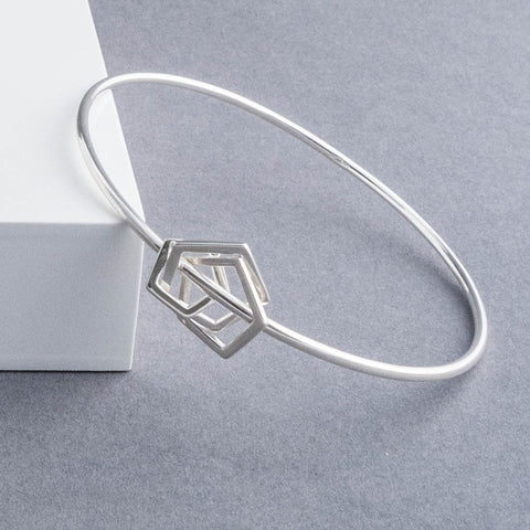 Geometric Silver Pentagon Bangle