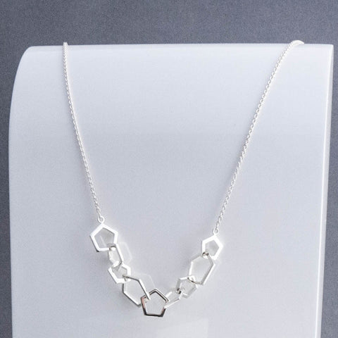 Geometric Silver Pentagon Multi Station Necklace