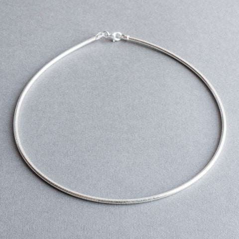 Sterling Silver Round 3mm Omega Necklace
