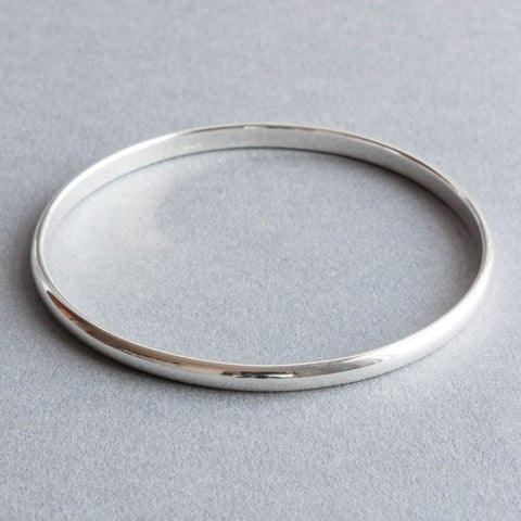 Classic Solid Sterling Silver Oval Bangle