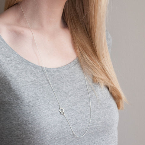 Sterling Silver Geometric Long Pentagon Necklace