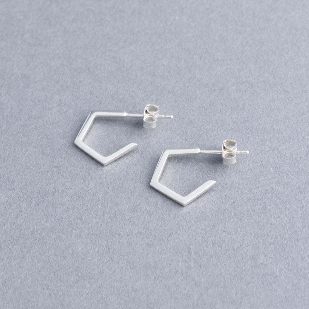Geometric Pentagon Silver Hoop Earrings