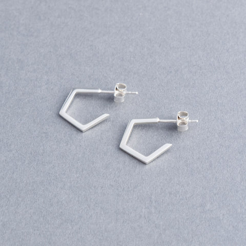 Geometric Silver Pentagon Hoop Earrings