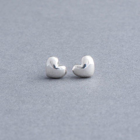 Small Sterling Silver Puff Heart Studs