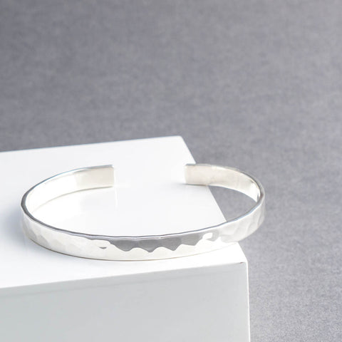Sterling Silver Hammered Torque Bangle