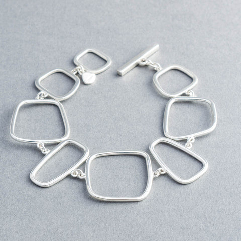 Lila Abstract Squares Silver Link Bracelet
