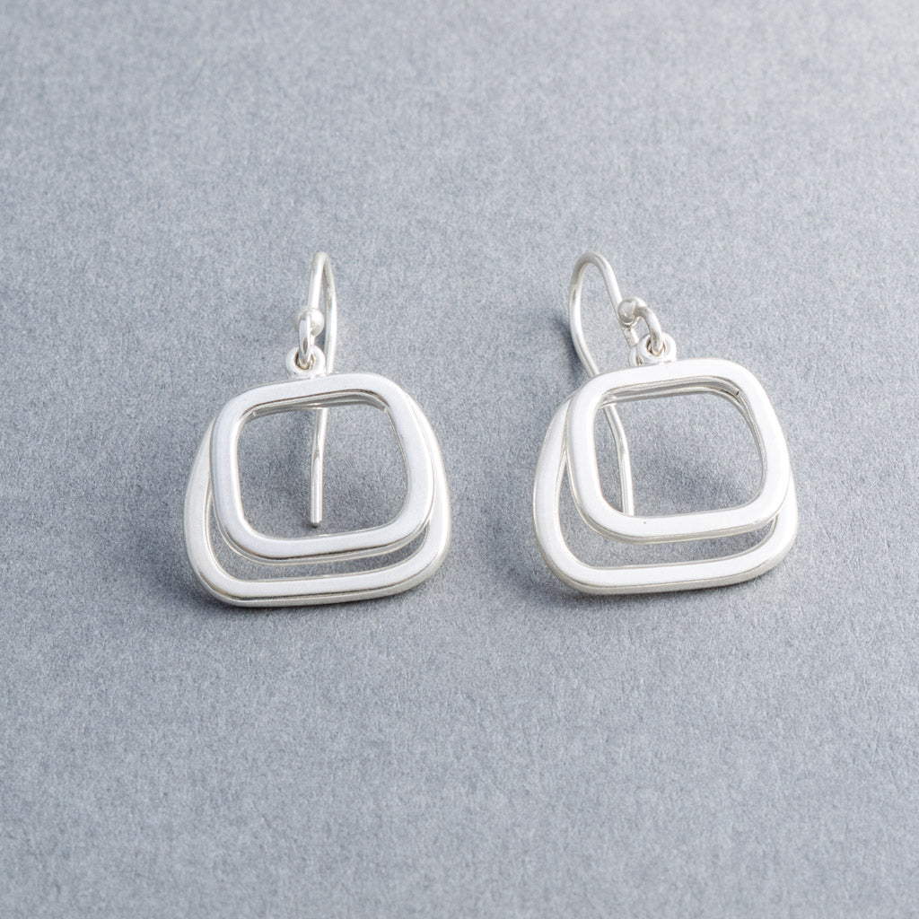 Lila Abstract Squares Drop Earrings