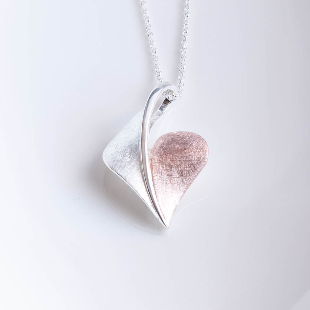 Arielle Sterling Silver and Rose Gold Heart Pendant Necklace