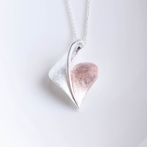 Arielle Sterling Silver and Rose Gold Heart Pendant