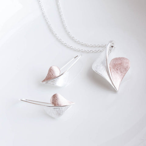 Arielle Sterling Silver and Rose Gold Heart Drop Earrings