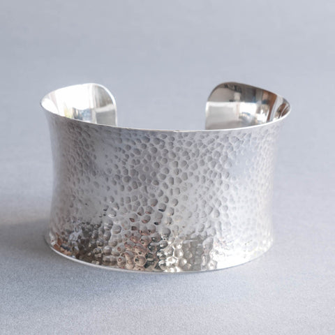 Ava Wide Hammered Silver Cuff