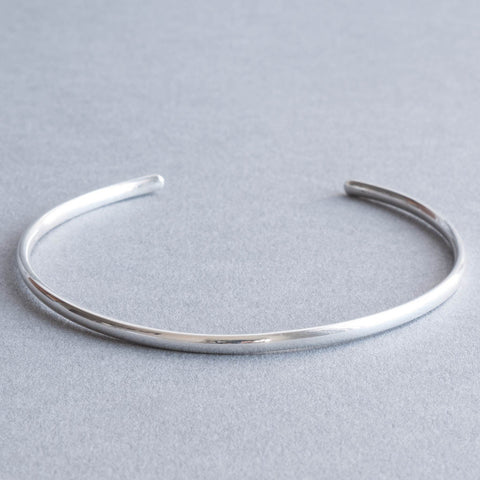 Slim Stackable Sterling Silver Round Court 3mm Torque Cuff Bangle
