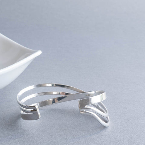 Sterling Silver Crossover Bangle Cuff