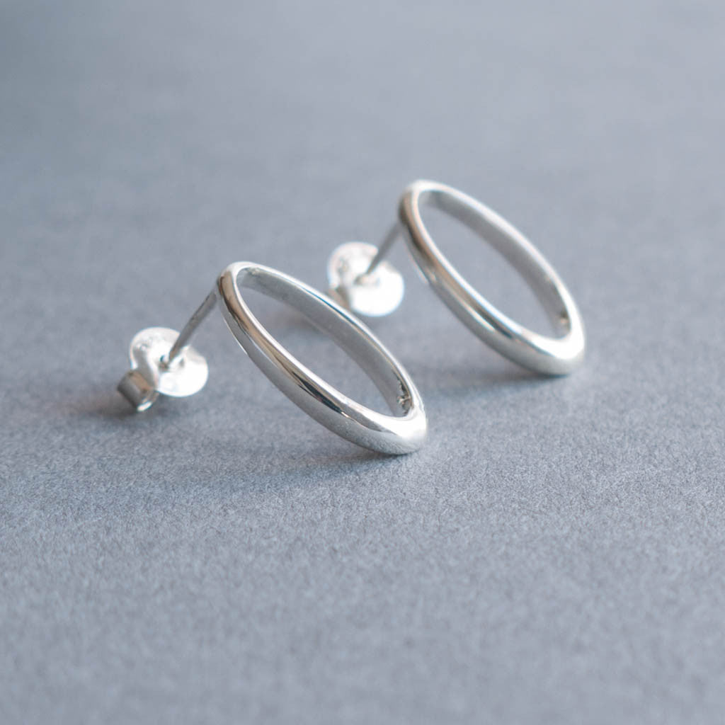 Marina Sterling Silver Open Oval Stud Earrings