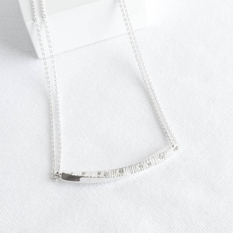 Ayla Sterling Silver and CZ Twisted Bar Necklace