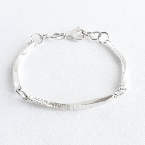 Ayla Sterling Silver Twisted Bar Bracelet
