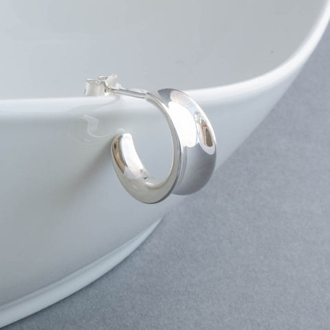 Small Sterling Silver Concave Hoop Earrings
