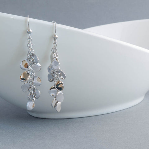 Rainfall Petals Sterling Silver Drop Earrings
