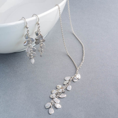Rainfall Petals Sterling Silver Necklace and Earrings