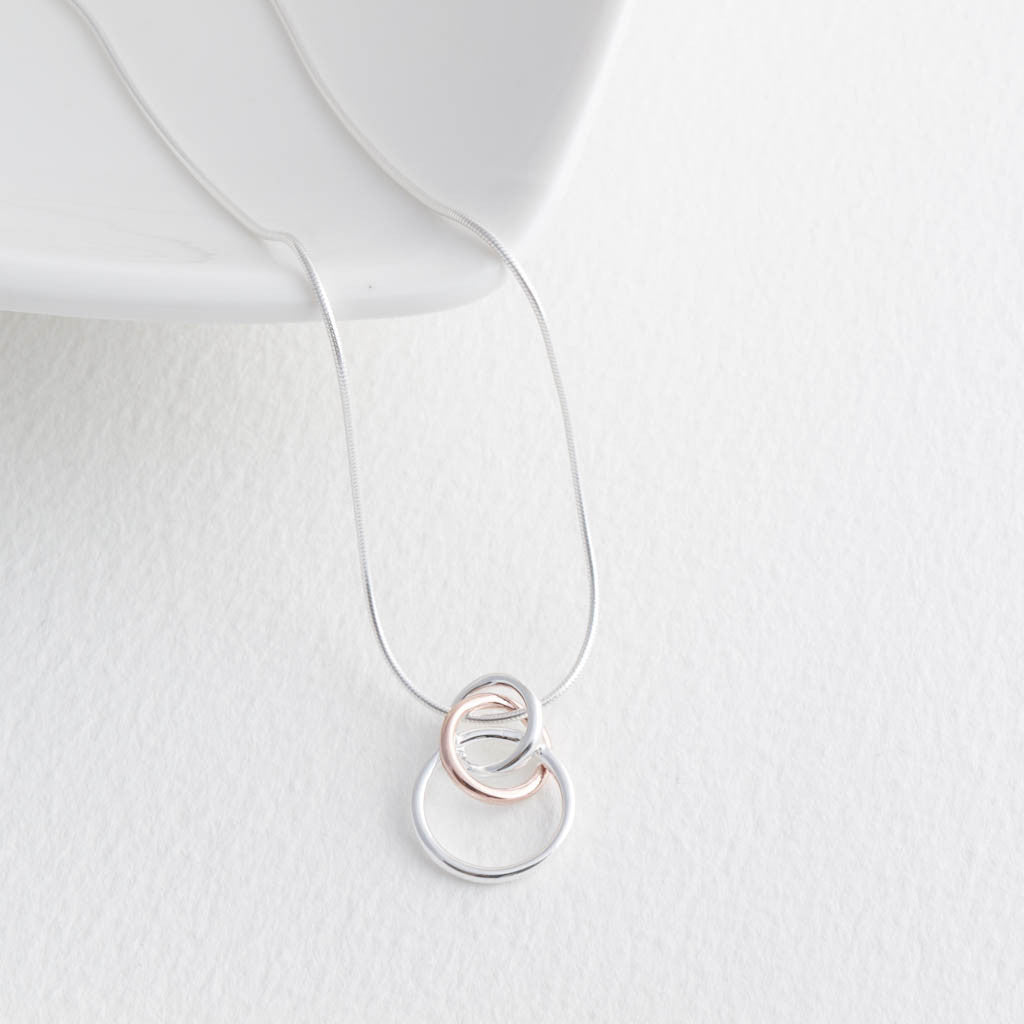 Sterling Silver and Rose Gold Interlinked Circles Necklace