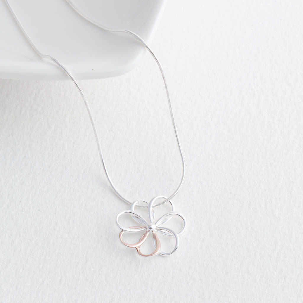 Sterling Silver and Rose Gold Open Flower Necklace