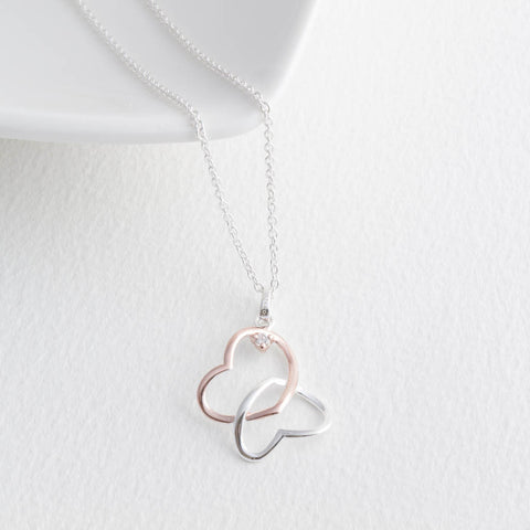 Sterling Silver and Rose Gold Double Open Hearts Necklace