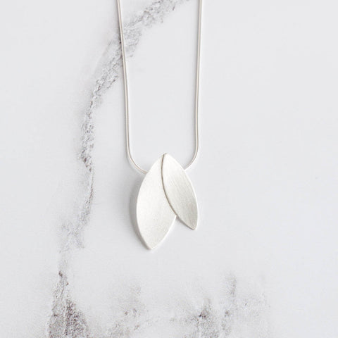 Helena Satin Sterling Silver Duo Petal Pendant Necklace