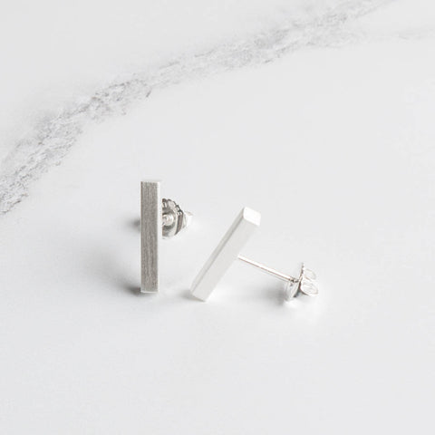 Brushed Sterling Silver Bar Stud Earrings