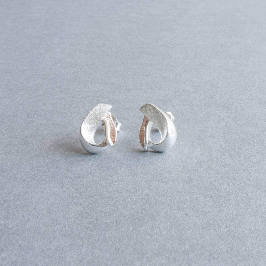 Miranda Sterling Silver and Rose Gold Stud Earrings