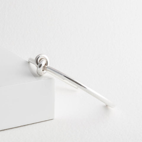 Sterling Silver Knot Torque Open Bangle