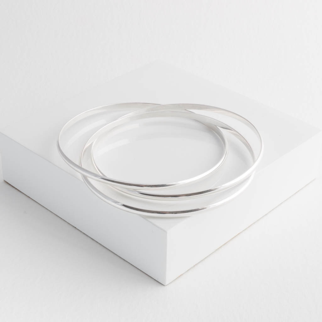 Classic Lightweight Sterling Silver Russian Bangles Slim Court