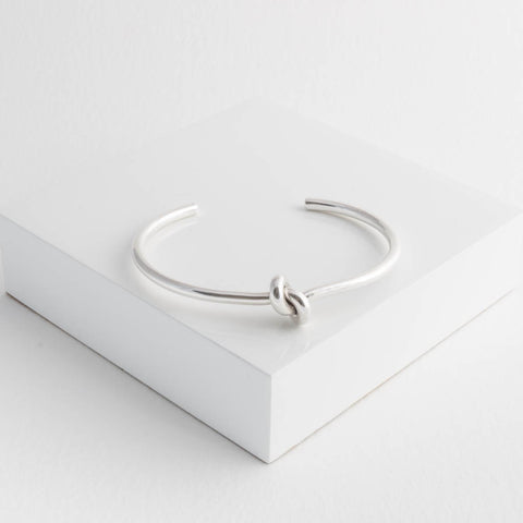 Neve Sterling Silver Knot Torque Bangle