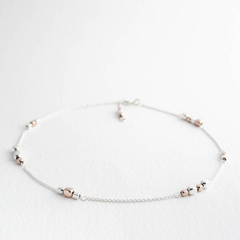 Endless Rose Gold and Silver Cube Station Short Necklace