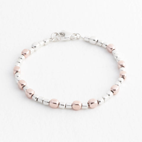 Endless Sterling Silver and Rose Gold Cube Bracelet