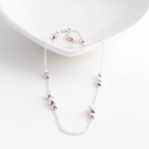 Endless Sterling Silver and Rose Gold Cube Short Choker Station Necklace