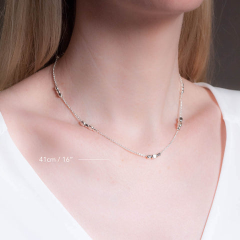 Endless Sterling Silver Cube Short Choker Station Necklace