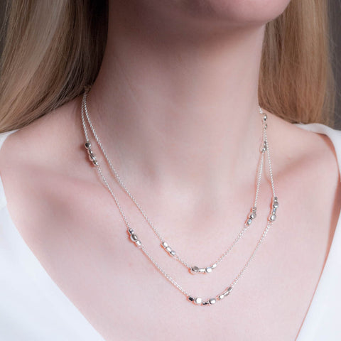 Endless Sterling Silver and Rose Gold Cube Long Station Necklace