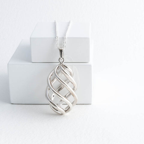 Sterling Silver Long Necklace Swirl Pendant